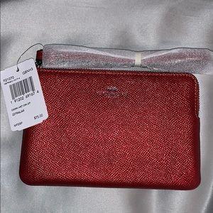Coach corner zip Metallic red wristlet